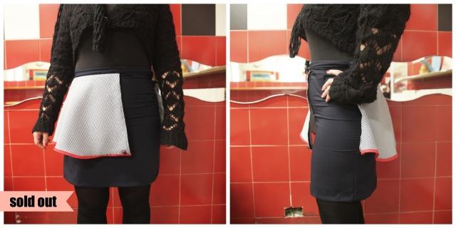 Gonna bluette con semi-peplum fantasia piè de poule, bordato di rosso. Foto by Arianna Angeloni